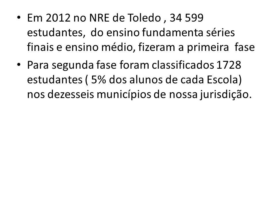 Em 2012 no NRE de Toledo, 34 599 estudantes, do ensino fundamenta séries finais e ensino médio, fizeram a primeira fase Para segunda fase foram classi