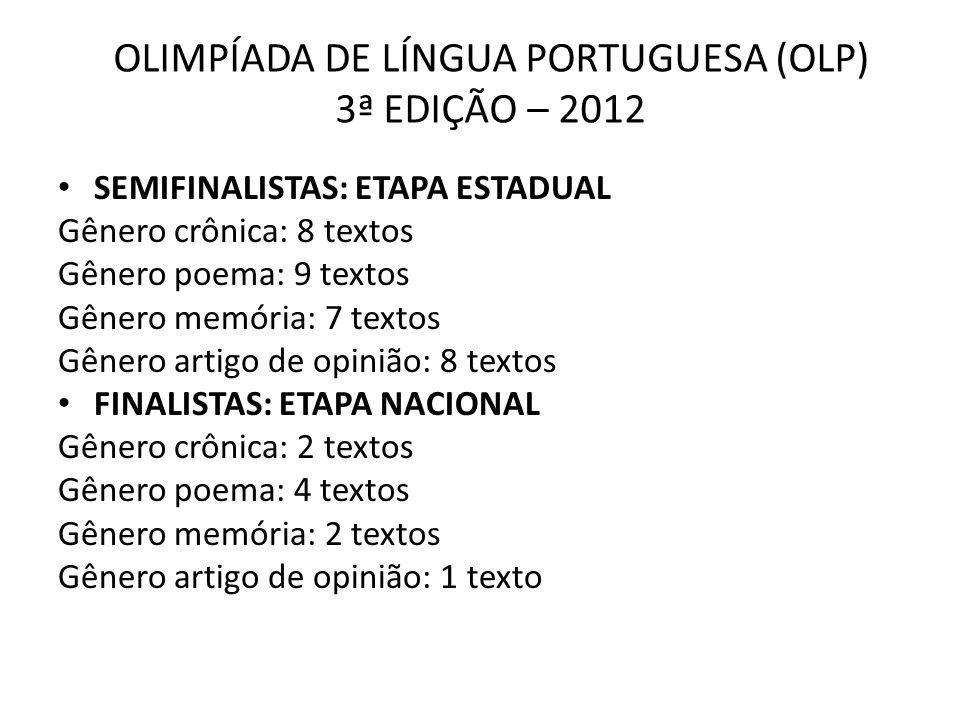 OLIMPÍADA DE LÍNGUA PORTUGUESA (OLP) 3ª EDIÇÃO – 2012 SEMIFINALISTAS: ETAPA ESTADUAL Gênero crônica: 8 textos Gênero poema: 9 textos Gênero memória: 7