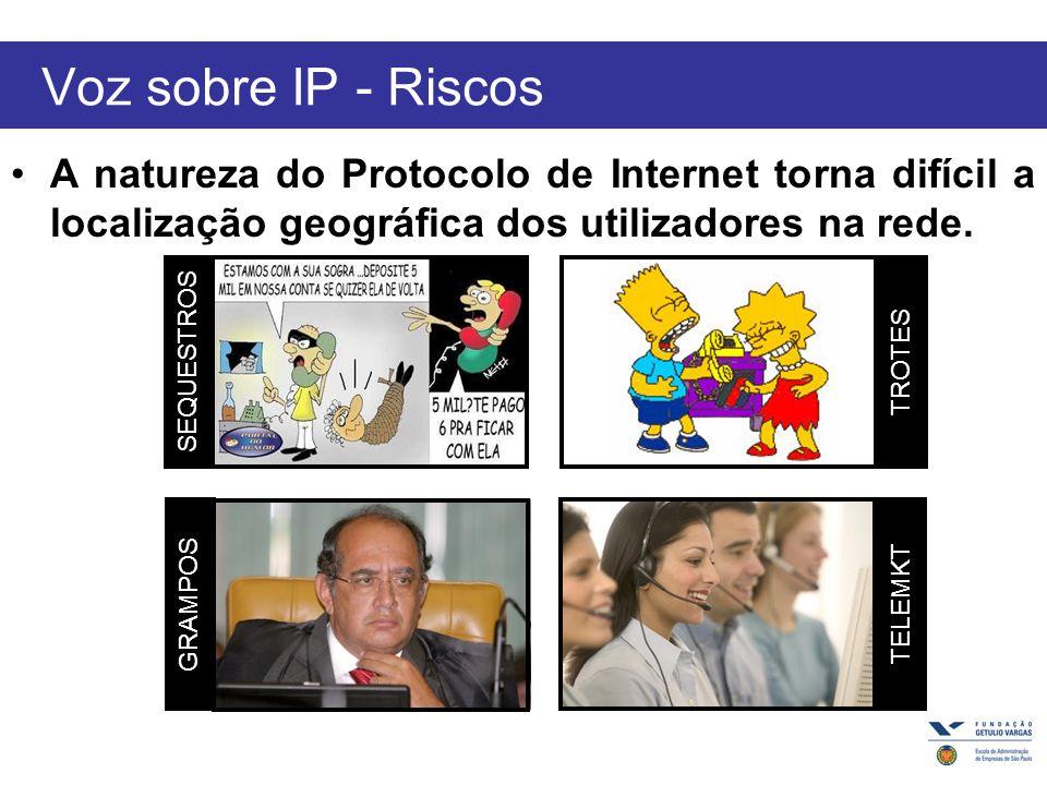 Voz sobre IP - Riscos A natureza do Protocolo de Internet torna difícil a localização geográfica dos utilizadores na rede.