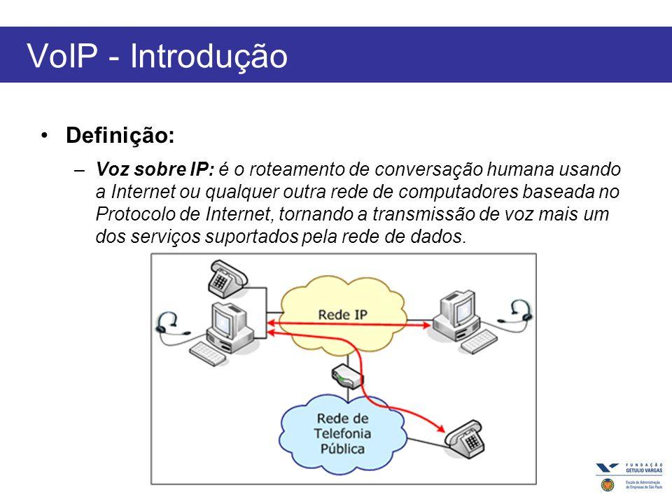 VoIP - Introdução Definição: –Voz sobre IP: é o roteamento de conversação humana usando a Internet ou qualquer outra rede de computadores baseada no Protocolo de Internet, tornando a transmissão de voz mais um dos serviços suportados pela rede de dados.