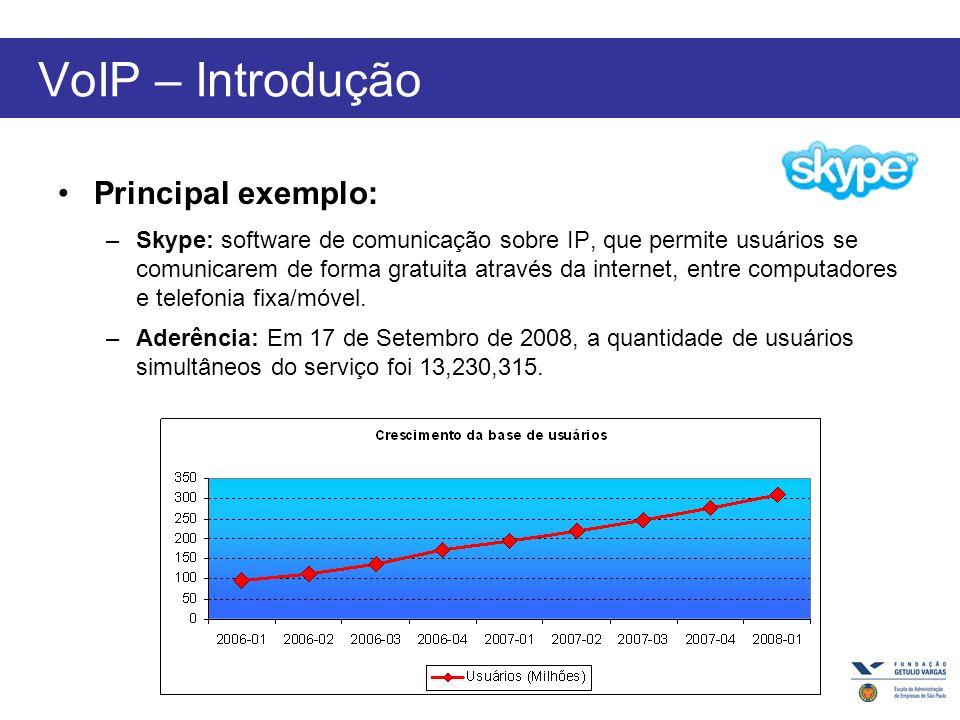 VoIP – Introdução Principal exemplo: –Skype: software de comunicação sobre IP, que permite usuários se comunicarem de forma gratuita através da internet, entre computadores e telefonia fixa/móvel.