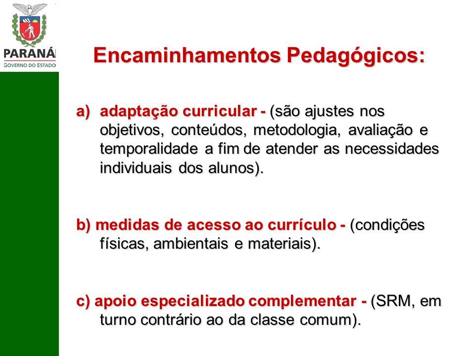 Encaminhamentos Pedagógicos: a)adaptação curricular - (são ajustes nos objetivos, conteúdos, metodologia, avaliação e temporalidade a fim de atender a