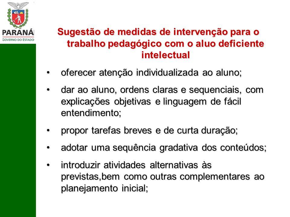 Sugestão de medidas de intervenção para o trabalho pedagógico com o aluo deficiente intelectual oferecer atenção individualizada ao aluno;oferecer ate
