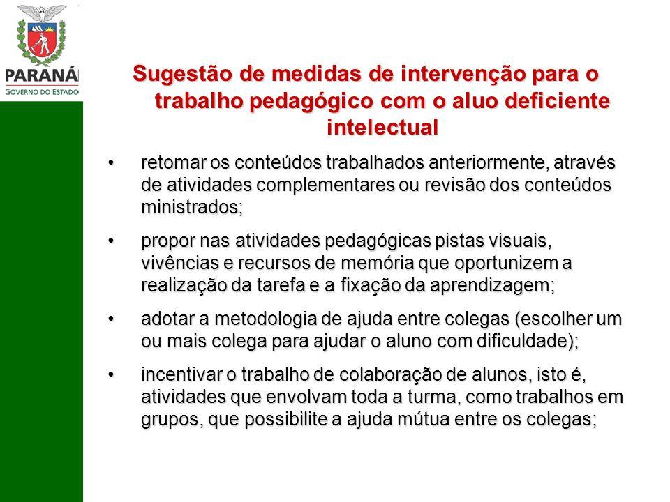 Sugestão de medidas de intervenção para o trabalho pedagógico com o aluo deficiente intelectual retomar os conteúdos trabalhados anteriormente, atravé