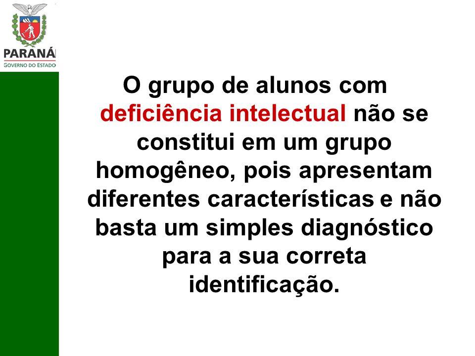 O grupo de alunos com deficiência intelectual não se constitui em um grupo homogêneo, pois apresentam diferentes características e não basta um simple