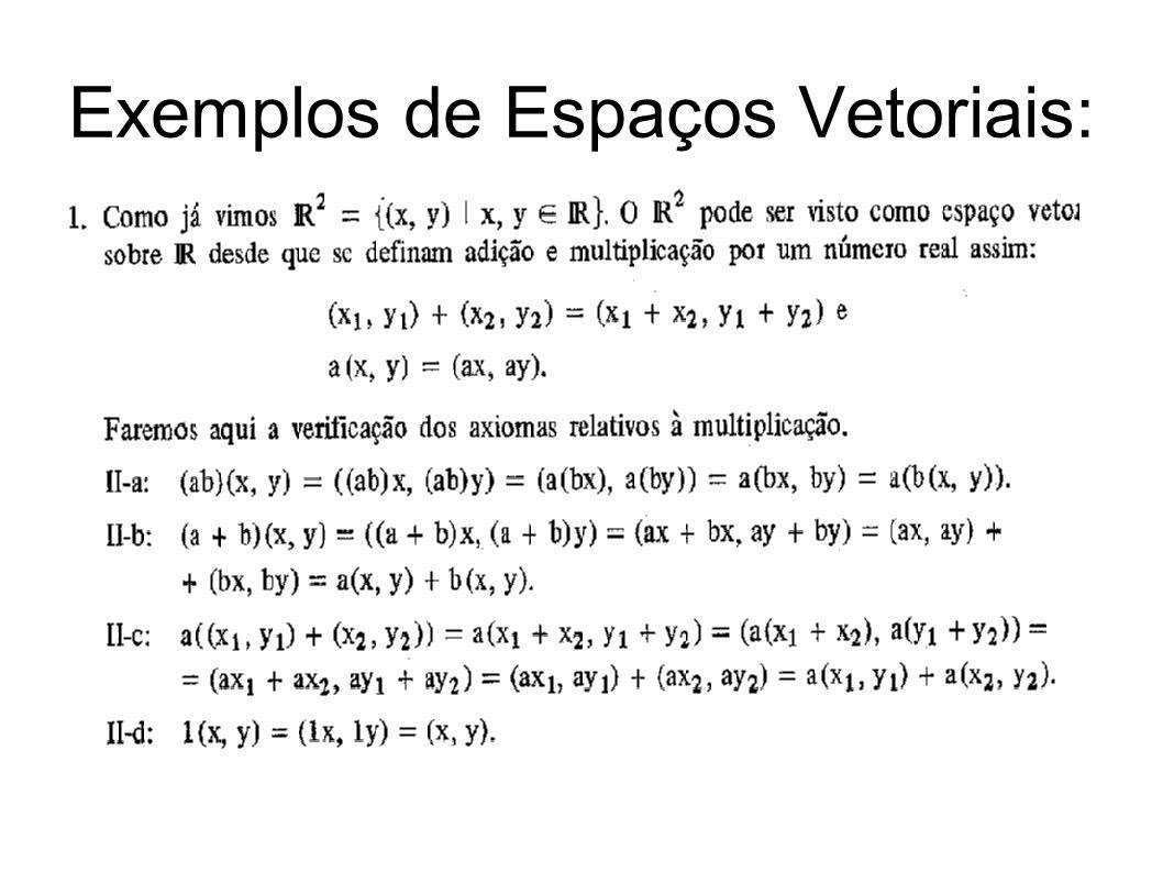 Exemplos de Espaços Vetoriais: