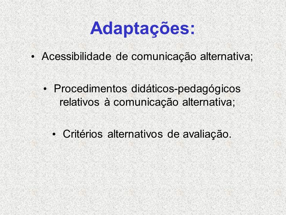 Adaptações: Acessibilidade de comunicação alternativa; Procedimentos didáticos-pedagógicos relativos à comunicação alternativa; Critérios alternativos