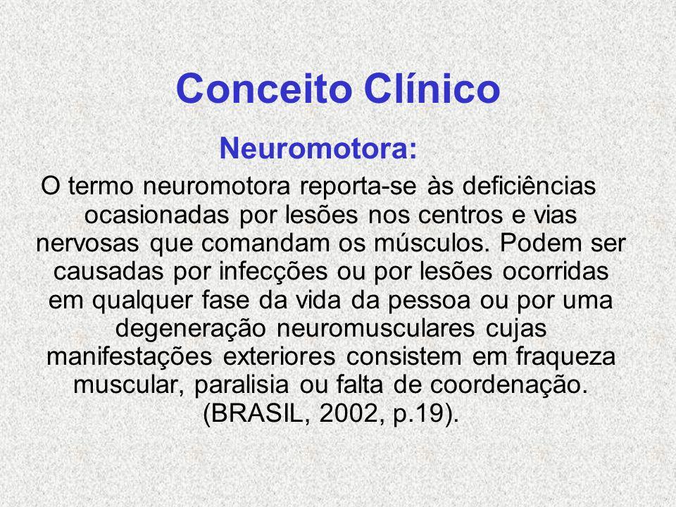 Conceito Clínico Neuromotora: O termo neuromotora reporta-se às deficiências ocasionadas por lesões nos centros e vias nervosas que comandam os múscul