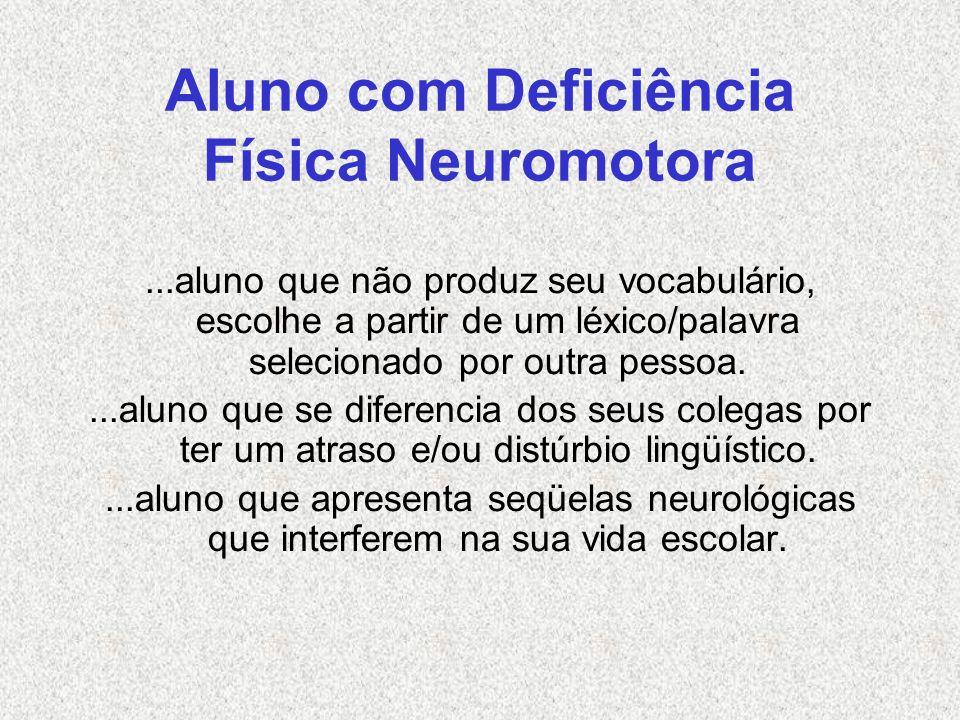 Aluno com Deficiência Física Neuromotora...aluno que não produz seu vocabulário, escolhe a partir de um léxico/palavra selecionado por outra pessoa...
