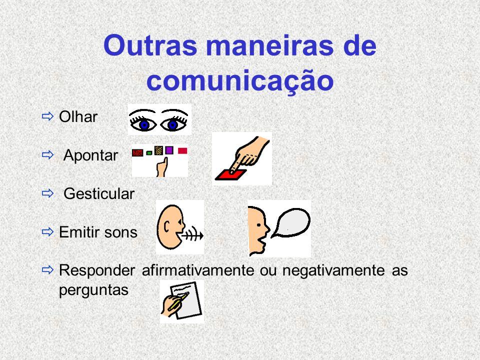 Outras maneiras de comunicação Olhar Apontar Gesticular Emitir sons Responder afirmativamente ou negativamente as perguntas