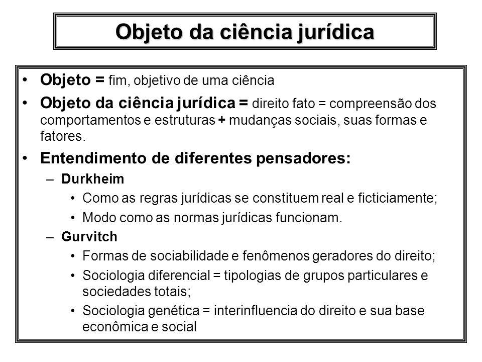 Objeto da ciência jurídica Objeto = fim, objetivo de uma ciência Objeto da ciência jurídica = direito fato = compreensão dos comportamentos e estruturas + mudanças sociais, suas formas e fatores.