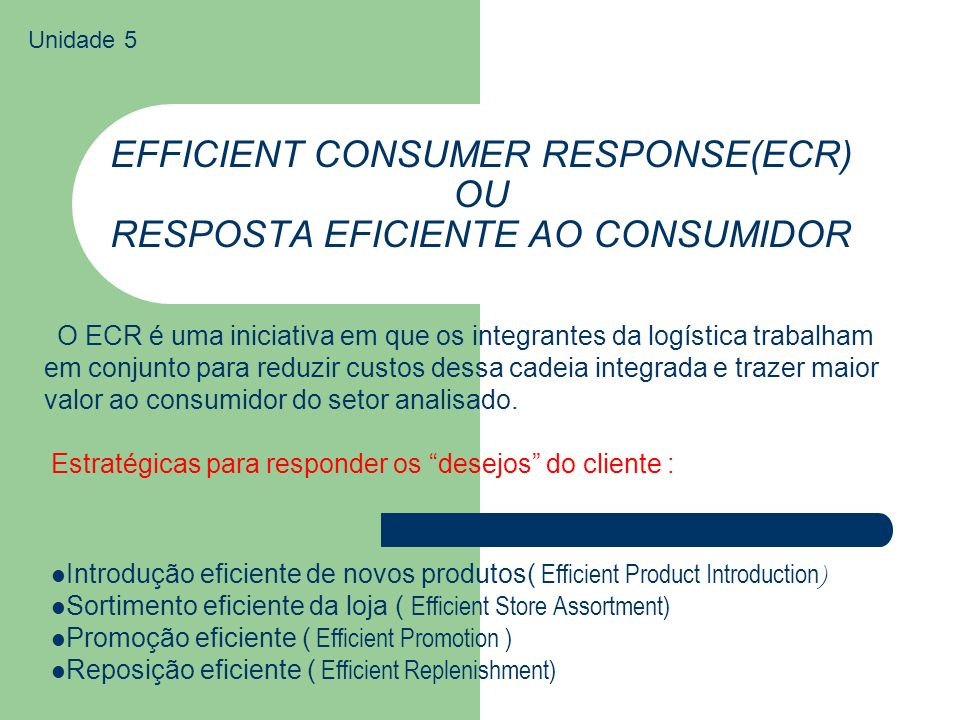 EFFICIENT CONSUMER RESPONSE(ECR) OU RESPOSTA EFICIENTE AO CONSUMIDOR Introdução eficiente de novos produtos( Efficient Product Introduction ) Sortimen