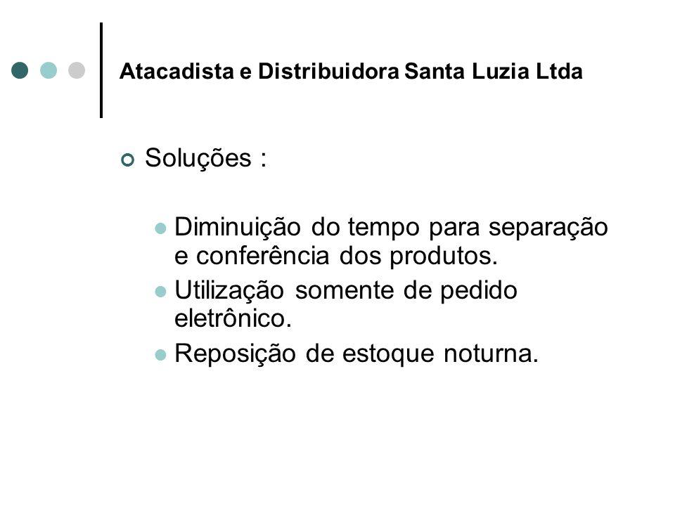 Atacadista e Distribuidora Santa Luzia Ltda Soluções : Diminuição do tempo para separação e conferência dos produtos.