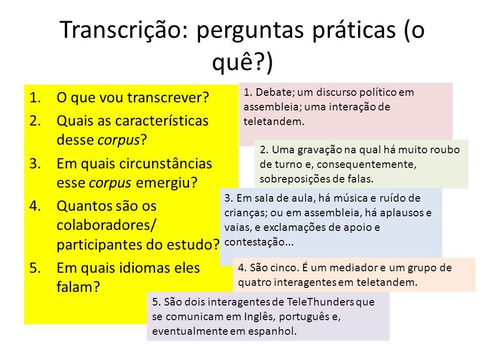Transcrição: perguntas práticas (o quê?) 1. Debate; um discurso político em assembleia; uma interação de teletandem. 2. Uma gravação na qual há muito