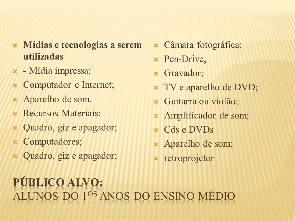 Mídias e tecnologias a serem utilizadas - Mídia impressa; Computador e Internet; Aparelho de som. Recursos Materiais: Quadro, giz e apagador; Computad
