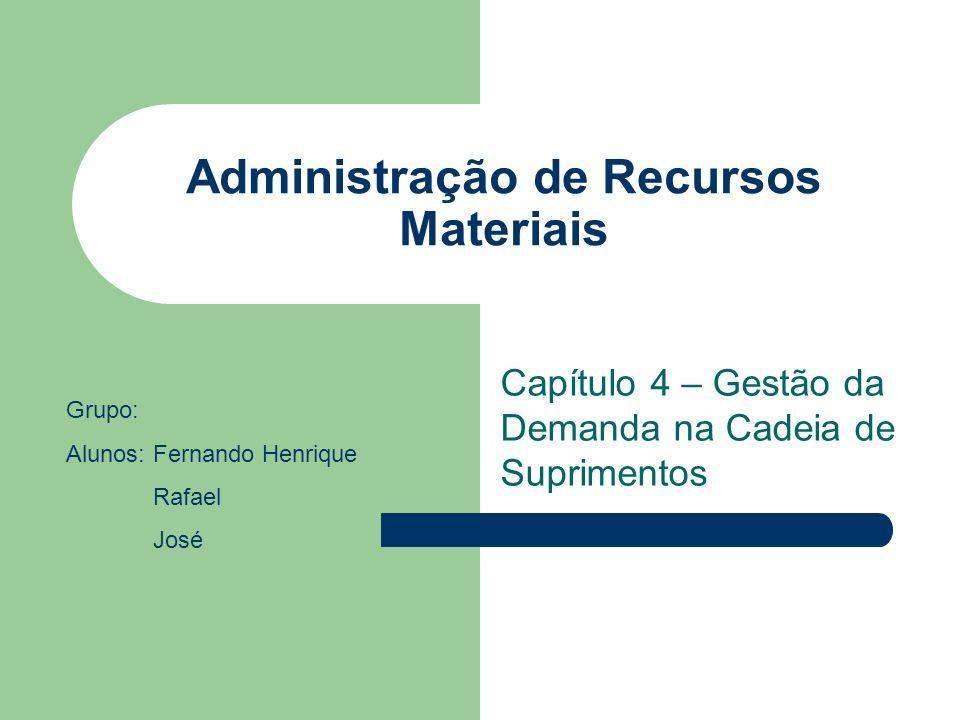 Administração de Recursos Materiais Capítulo 4 – Gestão da Demanda na Cadeia de Suprimentos Grupo: Alunos: Fernando Henrique Rafael José