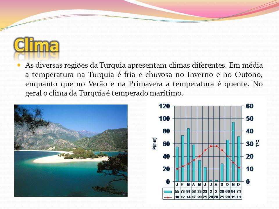 As diversas regiões da Turquia apresentam climas diferentes. Em média a temperatura na Turquia é fria e chuvosa no Inverno e no Outono, enquanto que n