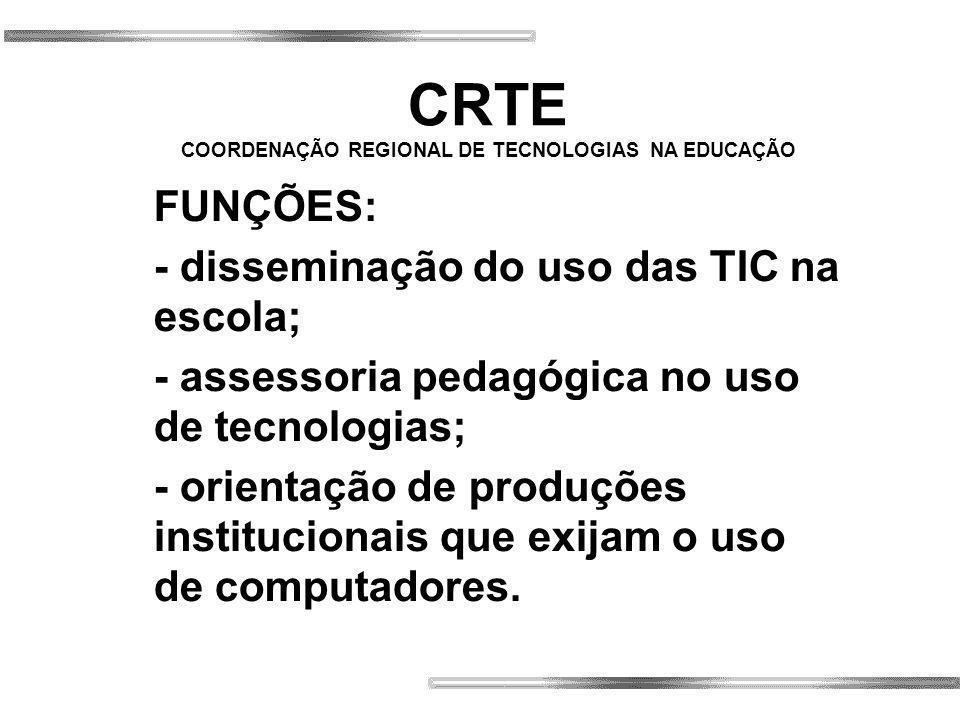CRTE COORDENAÇÃO REGIONAL DE TECNOLOGIAS NA EDUCAÇÃO FUNÇÕES: - disseminação do uso das TIC na escola; - assessoria pedagógica no uso de tecnologias; - orientação de produções institucionais que exijam o uso de computadores.