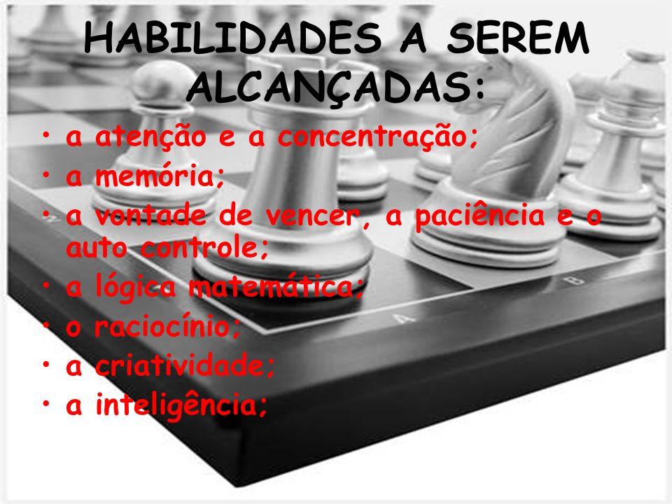 HABILIDADES A SEREM ALCANÇADAS: a atenção e a concentração; a memória; a vontade de vencer, a paciência e o auto controle; a lógica matemática; o raci