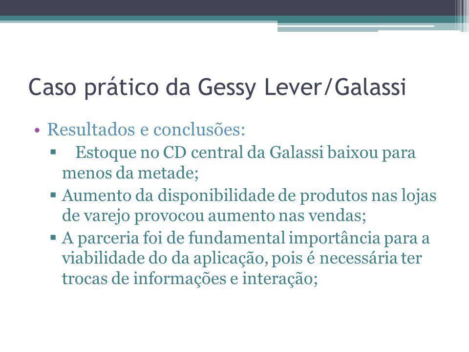 Caso prático da Gessy Lever/Galassi Resultados e conclusões: Estoque no CD central da Galassi baixou para menos da metade; Aumento da disponibilidade