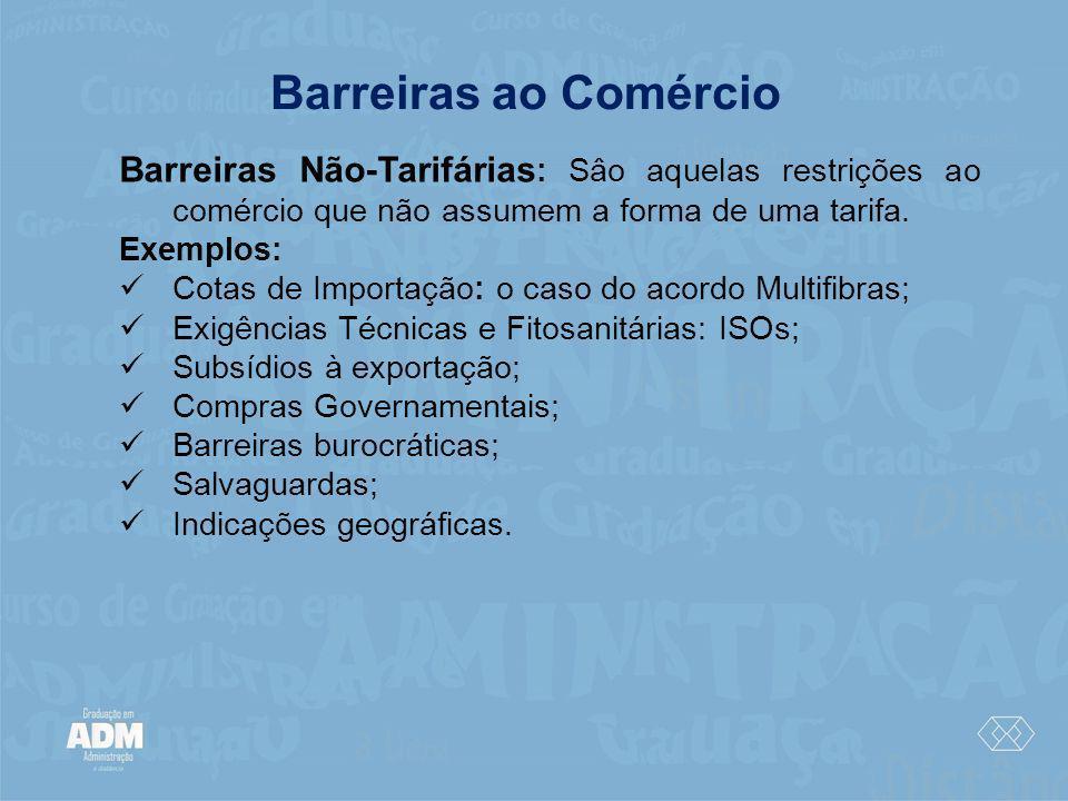 Barreiras ao Comércio Barreiras Não-Tarifárias : Sâo aquelas restrições ao comércio que não assumem a forma de uma tarifa. Exemplos: Cotas de Importaç