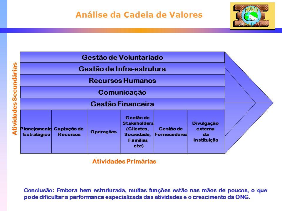 Análise da Cadeia de Valores Planejamento Estratégico Gestão de Voluntariado Gestão de Infra-estrutura Recursos Humanos Comunicação Gestão Financeira