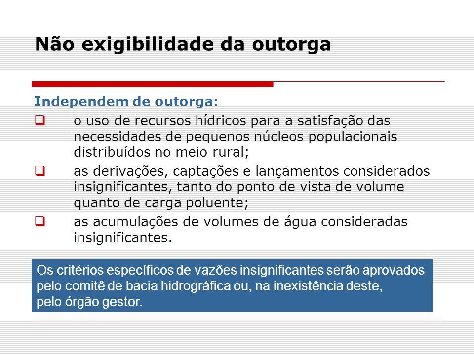 Não exigibilidade da outorga Independem de outorga: o uso de recursos hídricos para a satisfação das necessidades de pequenos núcleos populacionais di