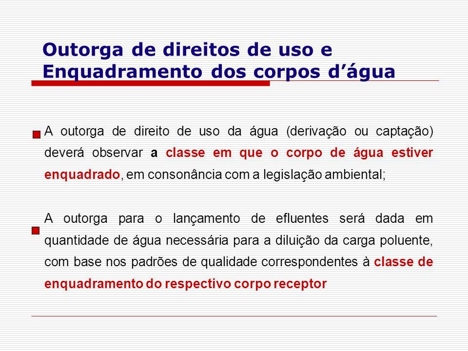 A outorga de direito de uso da água (derivação ou captação) deverá observar a classe em que o corpo de água estiver enquadrado, em consonância com a l