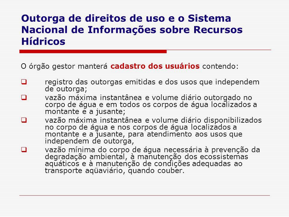 O órgão gestor manterá cadastro dos usuários contendo: registro das outorgas emitidas e dos usos que independem de outorga; vazão máxima instantânea e