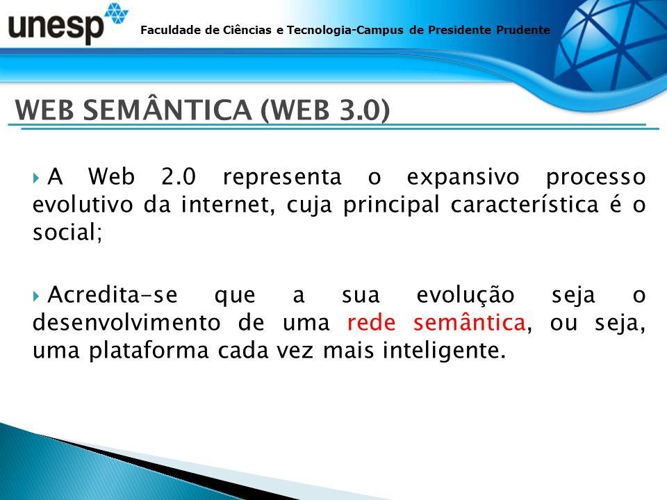 A Web 2.0 representa o expansivo processo evolutivo da internet, cuja principal característica é o social; Acredita-se que a sua evolução seja o desenvolvimento de uma rede semântica, ou seja, uma plataforma cada vez mais inteligente.