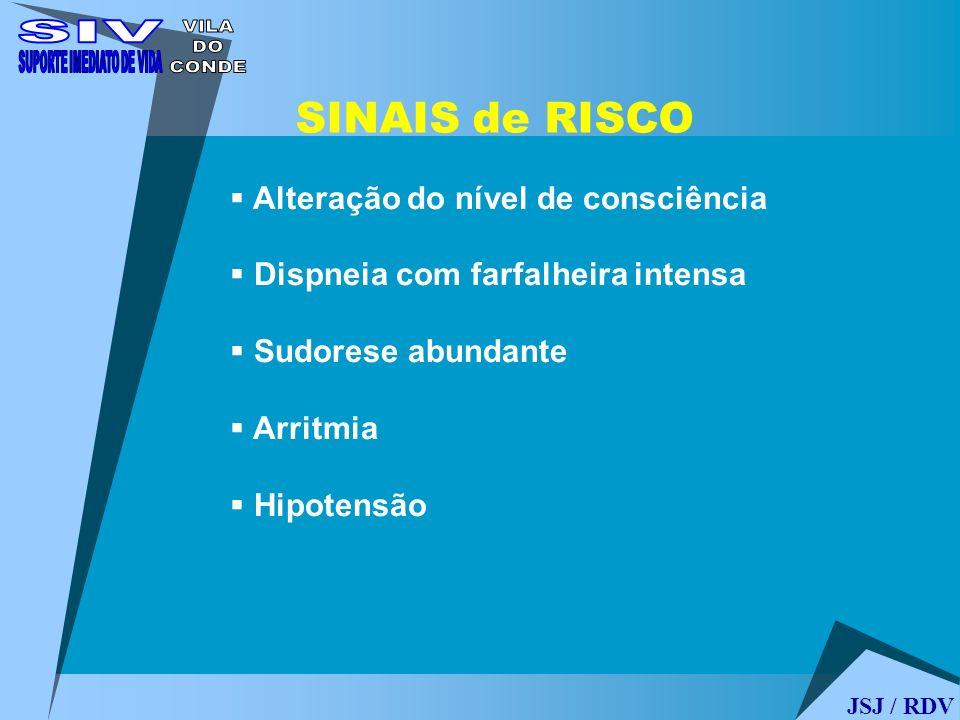 Alteração do nível de consciência Dispneia com farfalheira intensa Sudorese abundante Arritmia Hipotensão SINAIS de RISCO JSJ / RDV