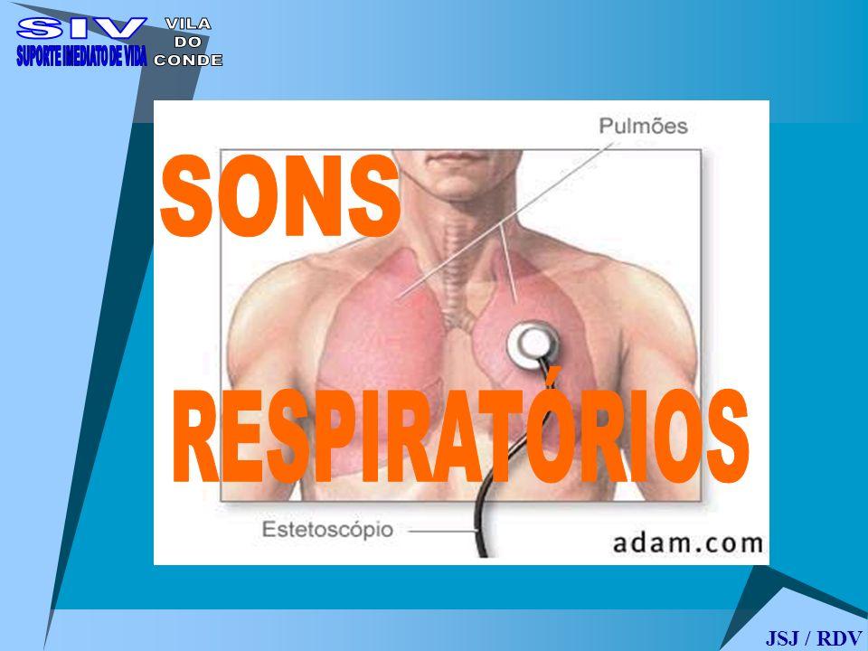 SONS RESPIRATÓRIOS Sons respiratórios normais: Murmúrio vesicular (MV) Som traqueal Respiração brônquica Sons adventícios: sons nítidos, descontínuos e explosivos: crepitações finas / grossas.