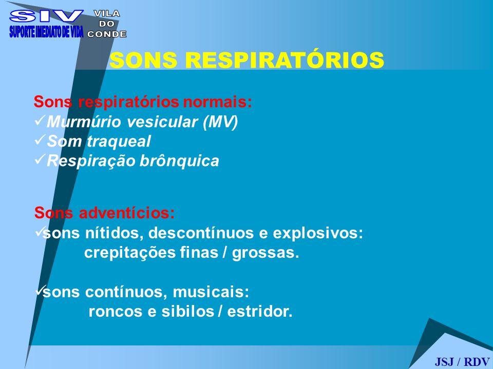SONS RESPIRATÓRIOS Sons respiratórios normais: Murmúrio vesicular (MV) Som traqueal Respiração brônquica Sons adventícios: sons nítidos, descontínuos