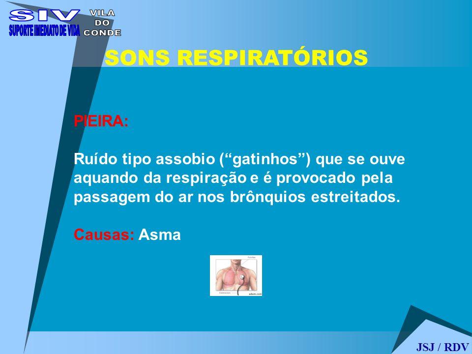 JSJ / RDV SONS RESPIRATÓRIOS PIEIRA: Ruído tipo assobio (gatinhos) que se ouve aquando da respiração e é provocado pela passagem do ar nos brônquios e
