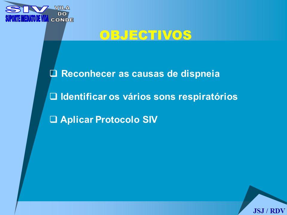 OBJECTIVOS Reconhecer as causas de dispneia Identificar os vários sons respiratórios Aplicar Protocolo SIV JSJ / RDV