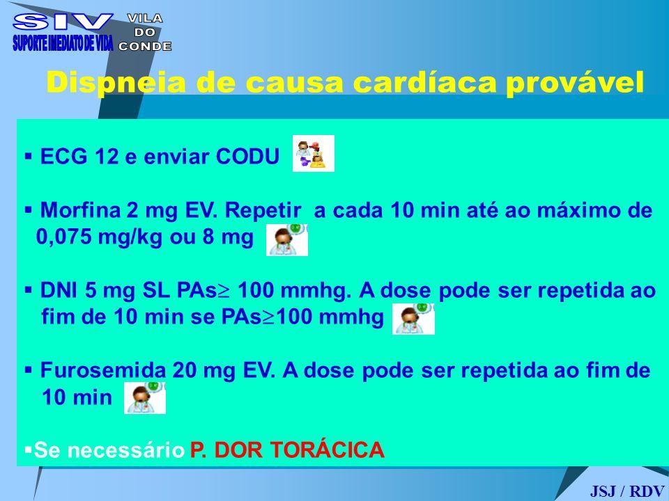 ECG 12 e enviar CODU Morfina 2 mg EV. Repetir a cada 10 min até ao máximo de 0,075 mg/kg ou 8 mg DNI 5 mg SL PAs 100 mmhg. A dose pode ser repetida ao