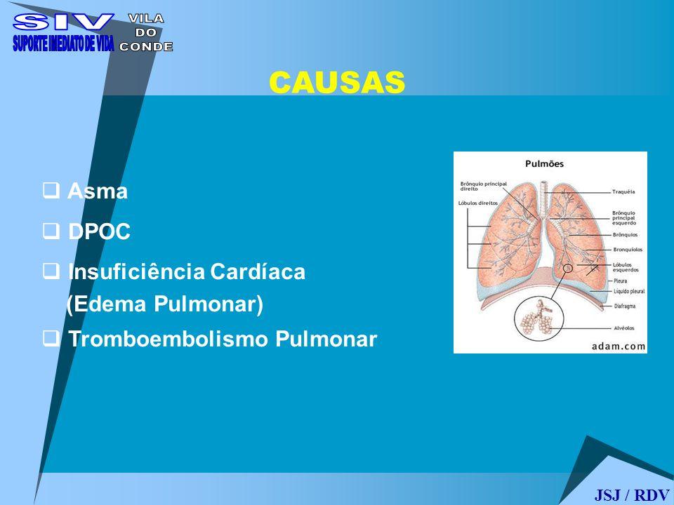 Asma DPOC Insuficiência Cardíaca (Edema Pulmonar) Tromboembolismo Pulmonar CAUSAS JSJ / RDV