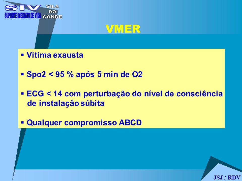 Vítima exausta Spo2 < 95 % após 5 min de O2 ECG < 14 com perturbação do nível de consciência de instalação súbita Qualquer compromisso ABCD VMER