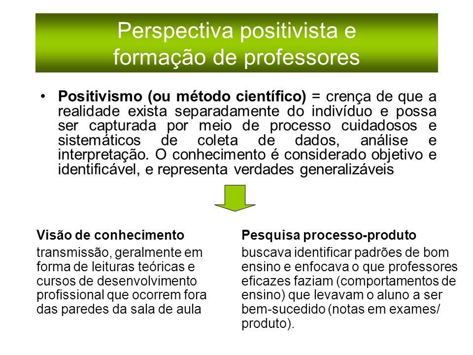 Perspectiva positivista e formação de professores Positivismo (ou método científico) = crença de que a realidade exista separadamente do indivíduo e possa ser capturada por meio de processo cuidadosos e sistemáticos de coleta de dados, análise e interpretação.