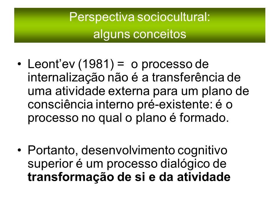 Leontev (1981) = o processo de internalização não é a transferência de uma atividade externa para um plano de consciência interno pré-existente: é o processo no qual o plano é formado.