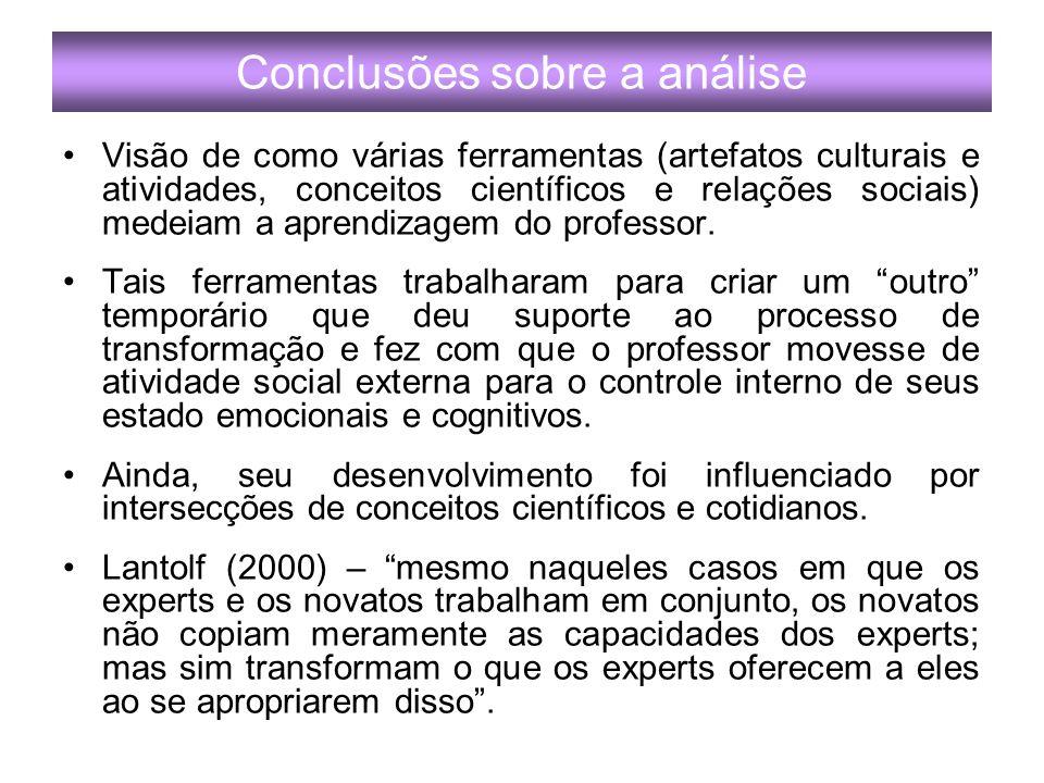 Conclusões sobre a análise Visão de como várias ferramentas (artefatos culturais e atividades, conceitos científicos e relações sociais) medeiam a aprendizagem do professor.