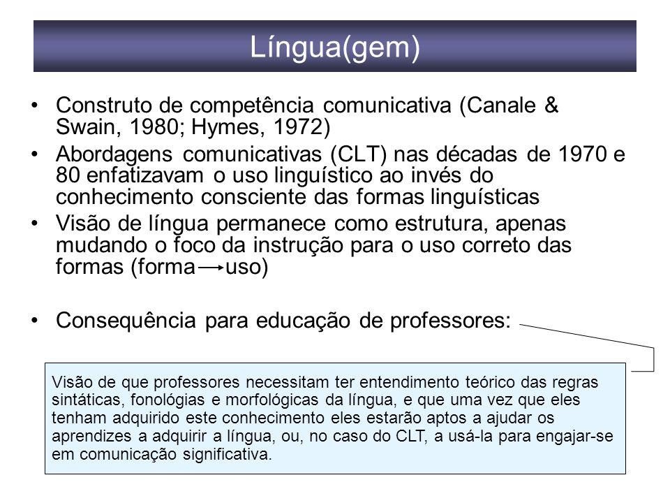 Língua(gem) Construto de competência comunicativa (Canale & Swain, 1980; Hymes, 1972) Abordagens comunicativas (CLT) nas décadas de 1970 e 80 enfatizavam o uso linguístico ao invés do conhecimento consciente das formas linguísticas Visão de língua permanece como estrutura, apenas mudando o foco da instrução para o uso correto das formas (forma uso) Consequência para educação de professores: Visão de que professores necessitam ter entendimento teórico das regras sintáticas, fonológias e morfológicas da língua, e que uma vez que eles tenham adquirido este conhecimento eles estarão aptos a ajudar os aprendizes a adquirir a língua, ou, no caso do CLT, a usá-la para engajar-se em comunicação significativa.