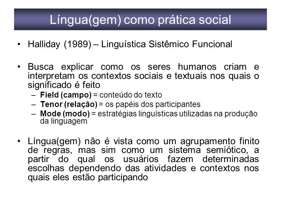 Língua(gem) como prática social Halliday (1989) – Linguística Sistêmico Funcional Busca explicar como os seres humanos criam e interpretam os contextos sociais e textuais nos quais o significado é feito –Field (campo) = conteúdo do texto –Tenor (relação) = os papéis dos participantes –Mode (modo) = estratégias linguísticas utilizadas na produção da linguagem Língua(gem) não é vista como um agrupamento finito de regras, mas sim como um sistema semiótico, a partir do qual os usuários fazem determinadas escolhas dependendo das atividades e contextos nos quais eles estão participando