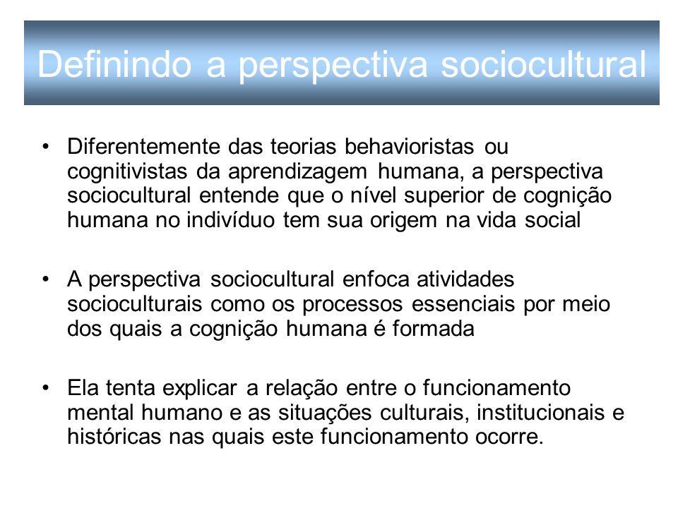 Os princípios epistemológicos da perspectiva sociocultural Educador e psicólogo russo Lev Vygotsky (1978, 1986) Seus seguidores Leontev (1981) e Luria (1982) Mais recentemente Cole (1996), John-Steiner (1997), Kozulin (1998), Lantolf (2000, 2006), Wells (1999) e Wertsch (1991).
