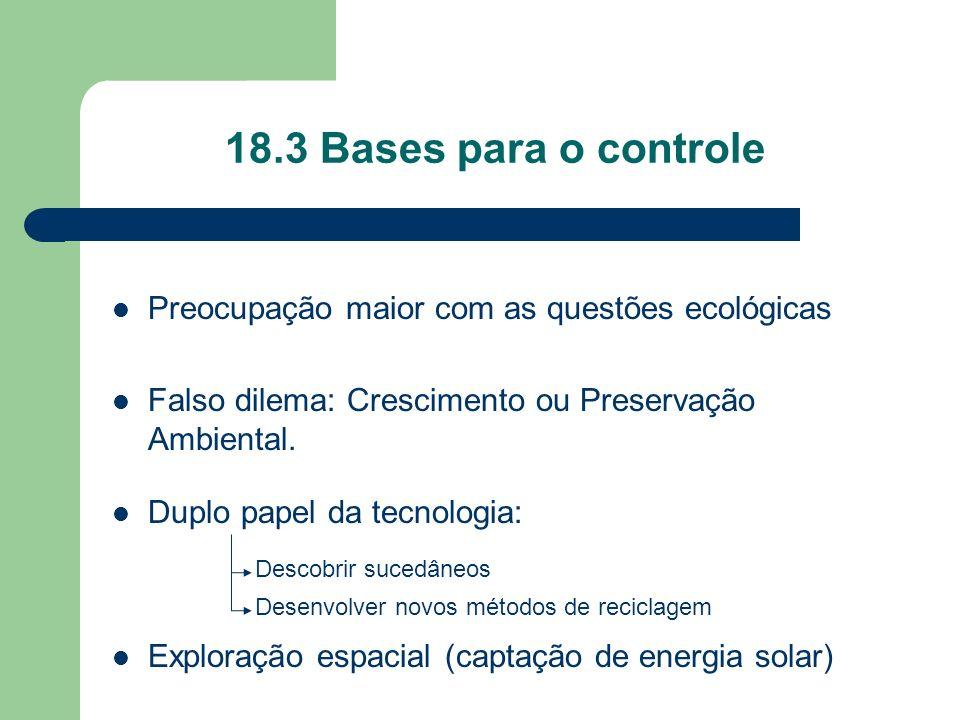 18.3 Bases para o controle Preocupação maior com as questões ecológicas Falso dilema: Crescimento ou Preservação Ambiental. Duplo papel da tecnologia: