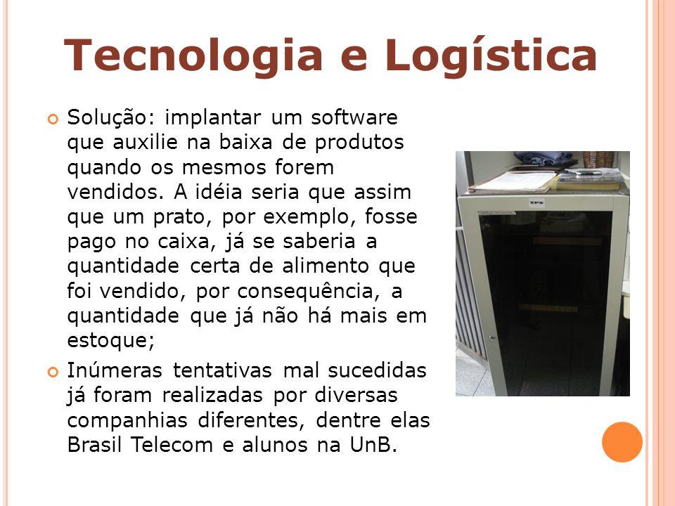 Solução: implantar um software que auxilie na baixa de produtos quando os mesmos forem vendidos. A idéia seria que assim que um prato, por exemplo, fo