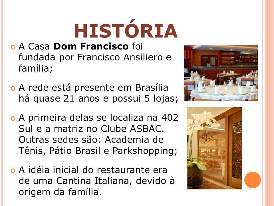HISTÓRIA A Casa Dom Francisco foi fundada por Francisco Ansiliero e família; A rede está presente em Brasília há quase 21 anos e possui 5 lojas; A pri