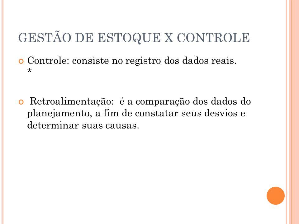 GESTÃO DE ESTOQUE X CONTROLE Controle: consiste no registro dos dados reais. * Retroalimentação: é a comparação dos dados do planejamento, a fim de co