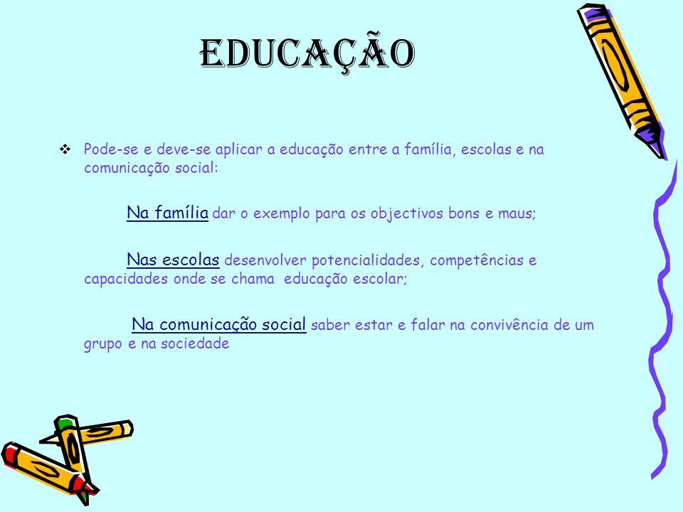 Educação A educação é uma experiência endoculturativa Relações entre pessoas e intenções de ensinar e aprender no âmbito familiar e adaptação Aos pouc