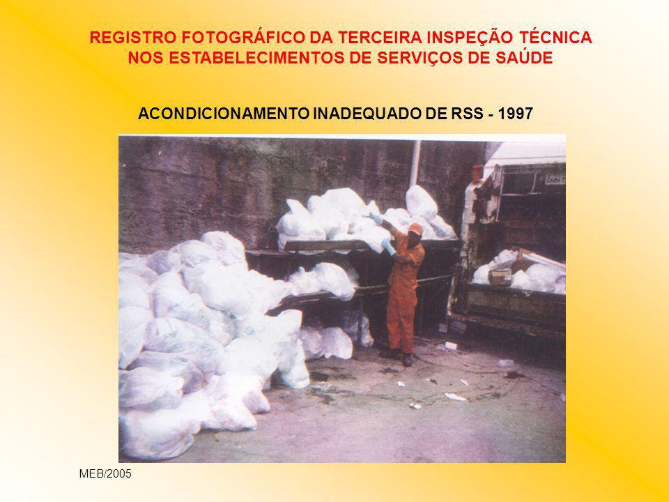 ACONDICIONAMENTO INADEQUADO DE RSS - 1997 REGISTRO FOTOGRÁFICO DA TERCEIRA INSPEÇÃO TÉCNICA NOS ESTABELECIMENTOS DE SERVIÇOS DE SAÚDE MEB/2005